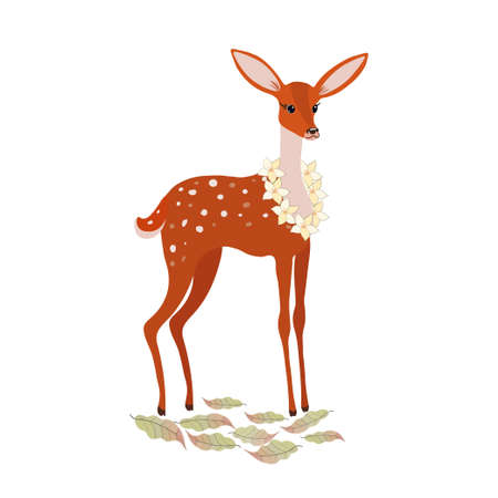 Orange baby deer with flowers stands in the meadow Ilustração