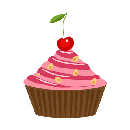 Vector cake with cream and cherry isolated on a white background. cupcake with pink cream and berry