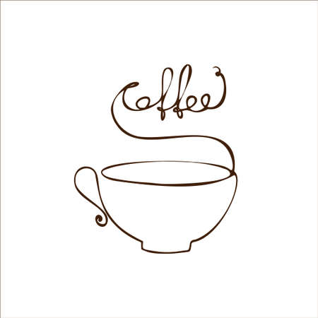 Cup in a simple linear style with the inscription Coffee. Coffee logo Ilustração