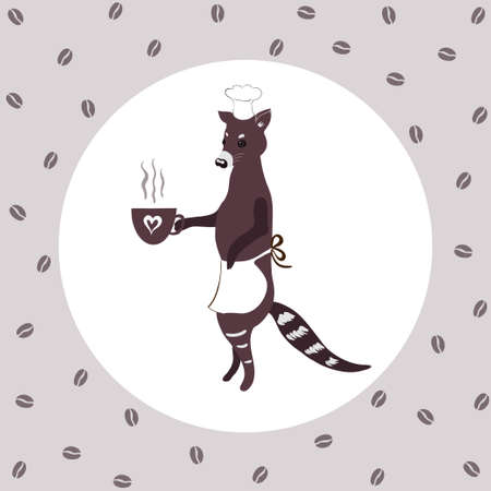 Civet in an apron holds a cup of coffee. coffee luwak Ilustração