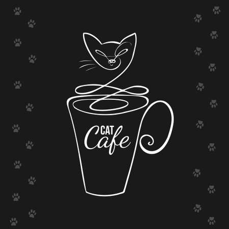 Cup in a simple linear style with cat outline on a black background. Cat cafe logo