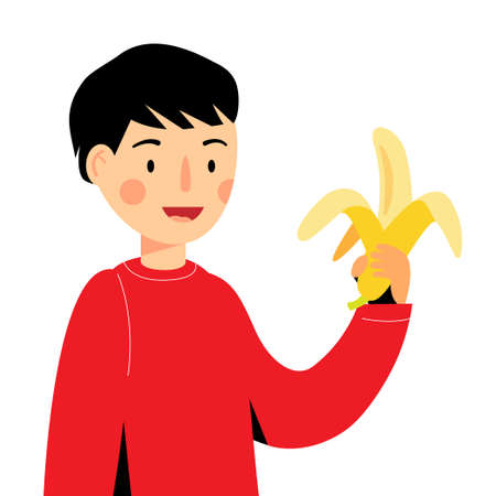The boy is holding a banana. guy eating banana