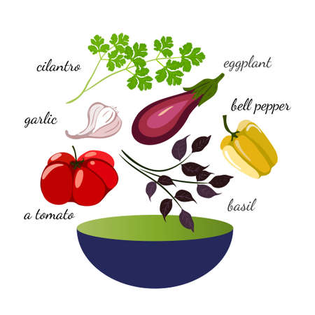 set of vegetables for salad and bowl