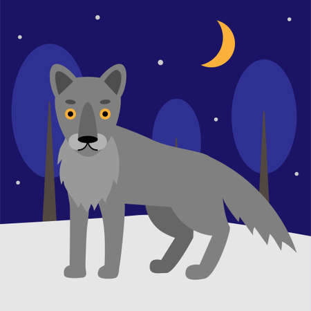 Gray wolf in a cartoon style in the forest. The wolf is walking in the forest. Winter scene.