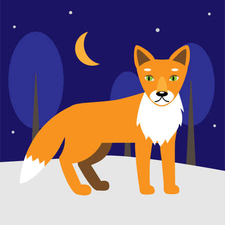 Red fox in a cartoon style in the forest. The fox is walking in the forest. Winter scene. Ilustração