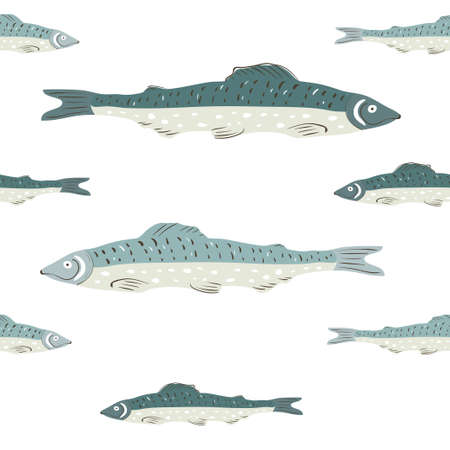 Seamless vector pattern with fishes in oriental style on a white background. Chinese style painting