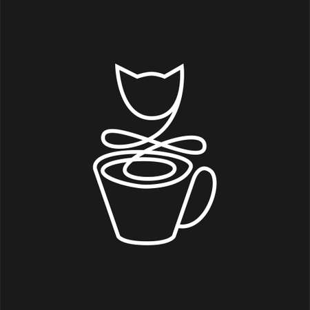 Cup in a simple linear style with cat outline on a black background. Ilustração