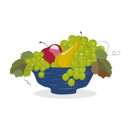 Fruit bowl with grapes, apple and pear on white background