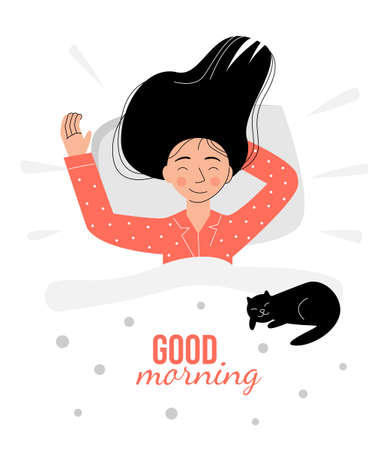 A girl in pink pajamas wakes up in the morning. The cat lies on the blanket Ilustração