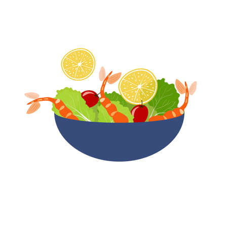 shrimp salad with lettice and lemon in a blue bowl Ilustrace