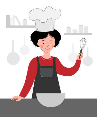 Vector scene with a cook in the kitchen. Woman cooking Ilustração