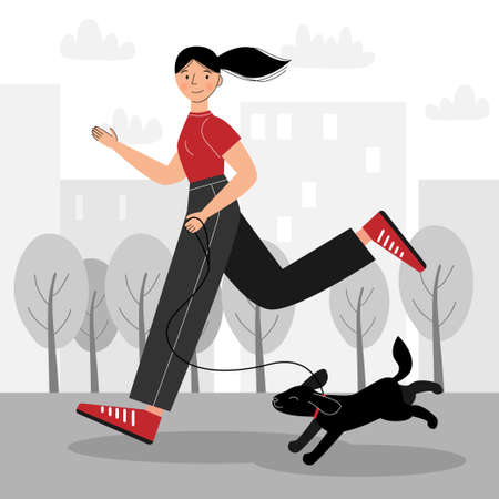 Vector illustration with a girl running in the park with her dog. The girl goes in for sports. Ilustração