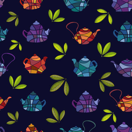 Seamless vector pattern of teapots in mosaic style on a black background.