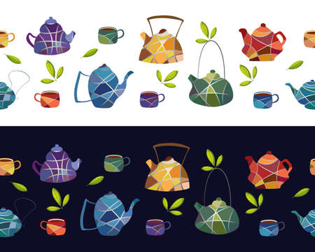 Seamless vector border of teapots and cups in mosaic style.