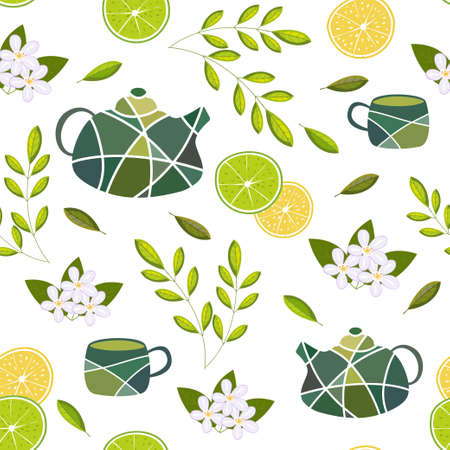 Seamless vector pattern with items for green tea on a white background. Teapots and cups.