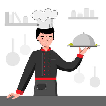 Chef in black uniform holding silver platter. Chef cooking in the kitchen.