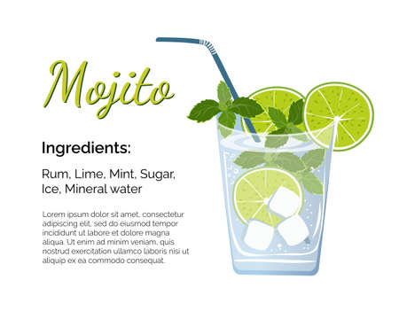 Mojito cocktail with place for ingredients and recipe on a white background. Cocktail card template.