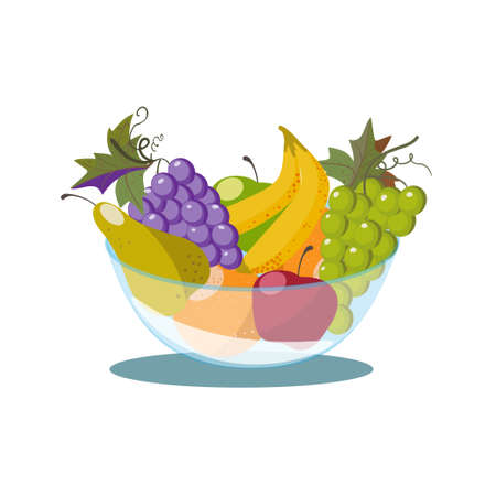 Fruit bowl with grapes, apple and pear on white background. Fruit basket 向量圖像
