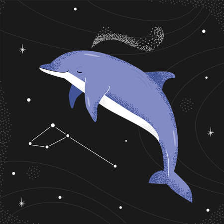 Blue dolphin flying in the night starry sky. delphinus constellation.
