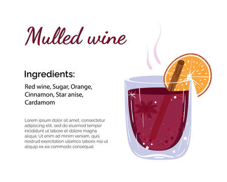 Mulled wine cocktail with place for ingredients and recipe isolated on a white background. Cocktail card template.