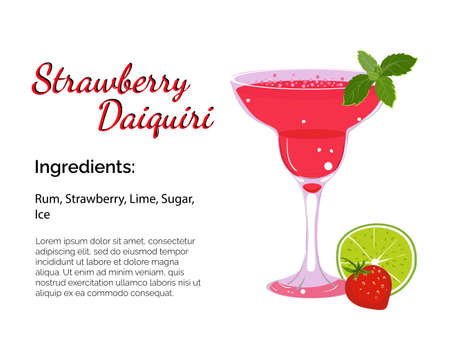 Strawberry daiquiri cocktail with place for ingredients and recipe isolated on a white background. Cocktail card template.