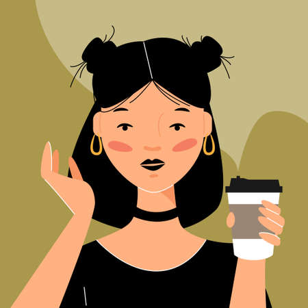 Vector portrait of a gothic girl in flat style. The hipster girl drinks coffee from a cardboard cup.