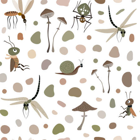 vector seamless pattern with insects and mushrooms isolated on a white background. Spider, dragonfly and other. 向量圖像