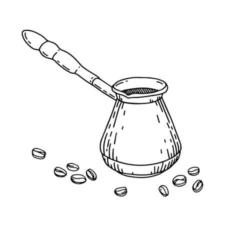 Cezve with coffee beans in sketch hand drawn style isolated on a white background. Turkish pot. Turk for making coffee. Morning routine.