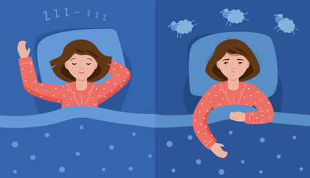 Two scenes with normal sleep and insomnia. A girl in pink pajamas lies in bed and cannot sleep. Insomnia concept. Woman counting sheep to sleep.