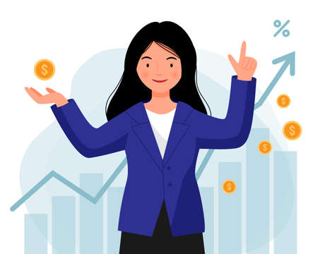 Woman in a jacket successfully invests her money. A girl stands with coins in her hands on the background of graphs. Financial literacy. Investment training.