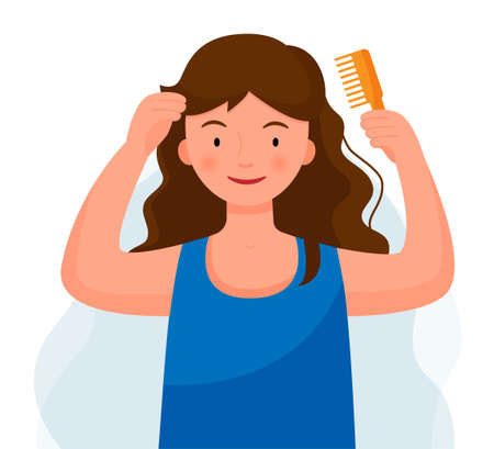 Woman brushing her hair with a comb. Girl cares for hair. Morning routine.