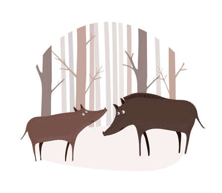 Vector scene with two wild boars in the winter forest. Two hogs stand in a clearing in the forest. Illustration in hand drawn style.