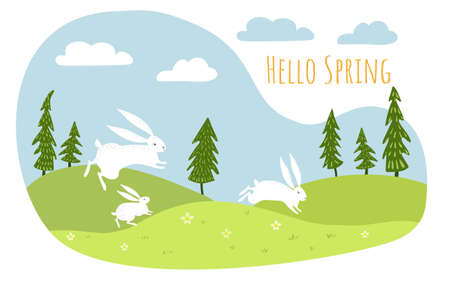 Vector spring landscape with flower fields. White hares run through the meadows. Illustration
