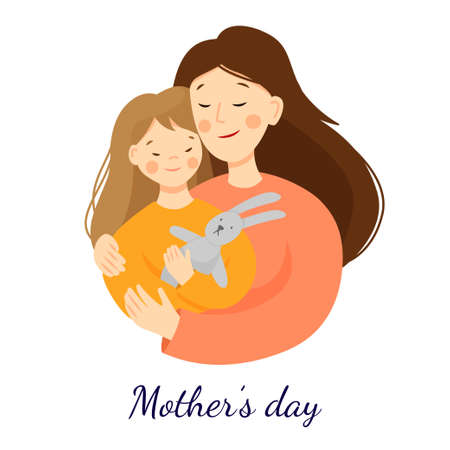 Vector flat illustration for mothers day. Mom hugs her daughter, daughter holding a hare toy. Parent-child relationship. Scene isolated on a white background.