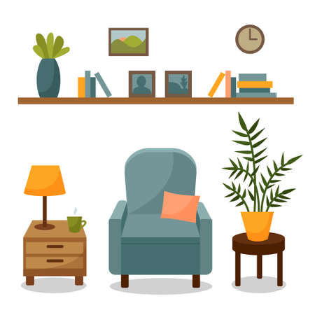 Living room interior isolated on a white background. Set with furniture - armchair with pillow, home flowers, bedside table with lamp, shelf with books, clock.