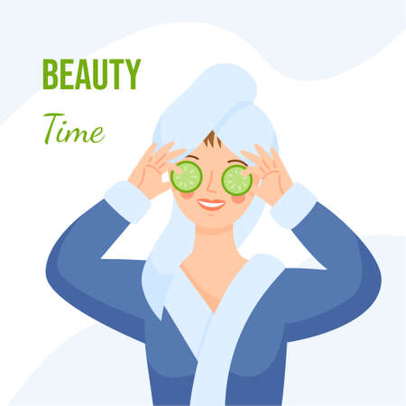 A girl in a dressing gown with a towel on her head makes a mask with cucumbers. The girl holds cucumbers in her hands. Woman at the spa. Beauty time. Vektoros illusztráció