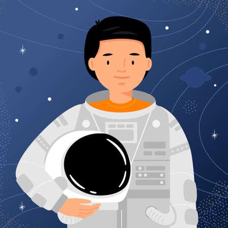 Man astronaut stands on starry sky background. Man cosmonaut portrait. Ilustração