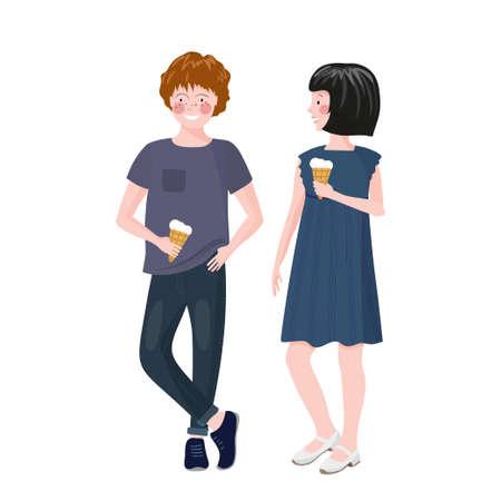 Boy and girl standing and eating ice cream. Children communicate. Teen relationship. Ilustração