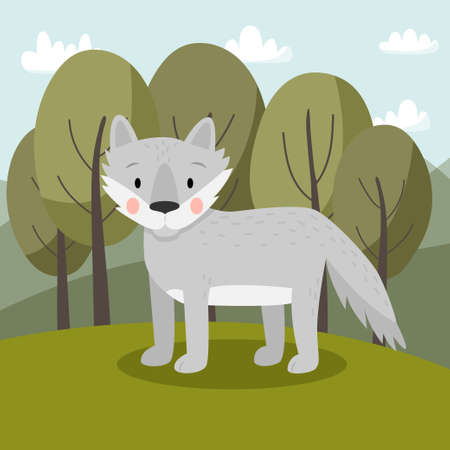 Grey wolf in cartoon style standing in the forest. Vector illustration. Cute animal for children.