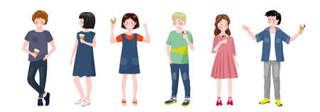 Boys and girls stand and eat ice cream. Children communicate. Teen relationship.