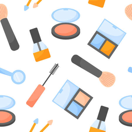 Seamless vector pattern with cosmetics on a white background. Makeup items.
