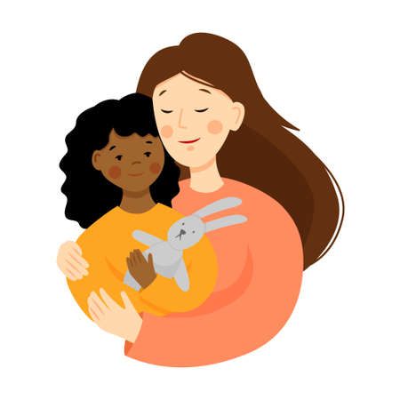 Happy young woman with adopted baby. Portrait of a mother and african kid in flat style. Multiracial family. Mothers day.