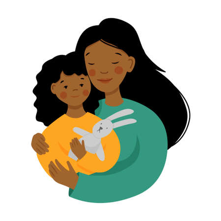 Happy young woman with baby. Black african american mother and daughter in flat style. Mothers day. Ilustração