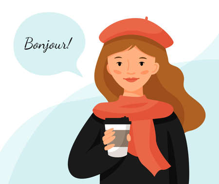 Cute girl in a red beret with cup of coffee. Parisian style woman. Girl with cloud for text. Translation of text - hello.