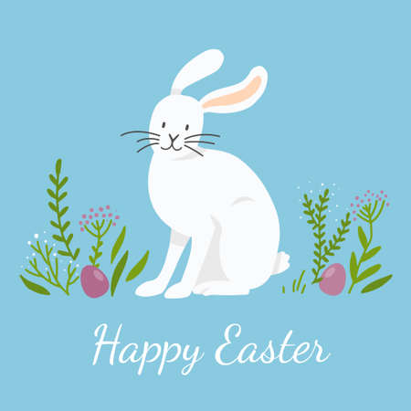 A white bunny is sitting on the lawn. Colorful eggs are hidden in the grass. Easter scene.