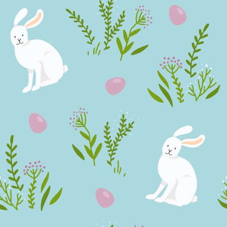 Seamless vector pattern with white bunnies, Easter eggs and plants isolated on a blue background. Easter pattern. Ilustração