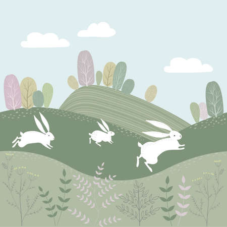 Vector spring landscape with fields and trees. White hares run through the meadows. Ilustração