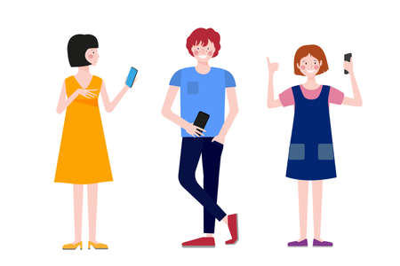 Boys and girls stand with phones. Children communicate. Teen relationship.