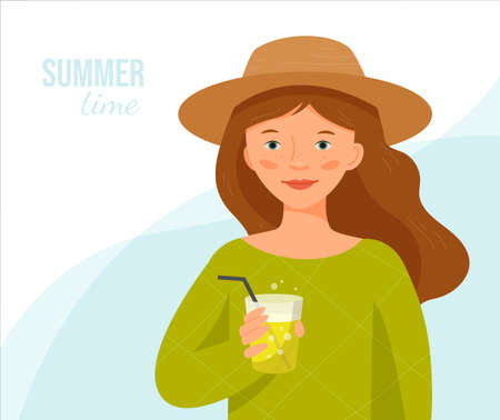 Girl with freckles in a straw hat stands with a glass of lemonade. Summer time. Ilustração