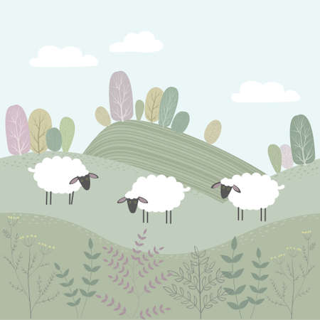 Vector spring landscape with fields and trees. White sheep stand in the meadow.